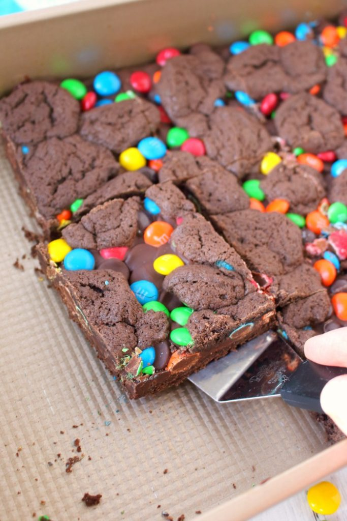 Made with the help of a cake mix and a few other ingredients, these Double Chocolate M&M Bars are fantastic! Loads of milk chocolate M&M's candies and semi-sweet chocolate chips are in the center of these cookie bars, sandwiched between the cake mix batter. Perfect for an after-school snack or a lunchbox surprise!