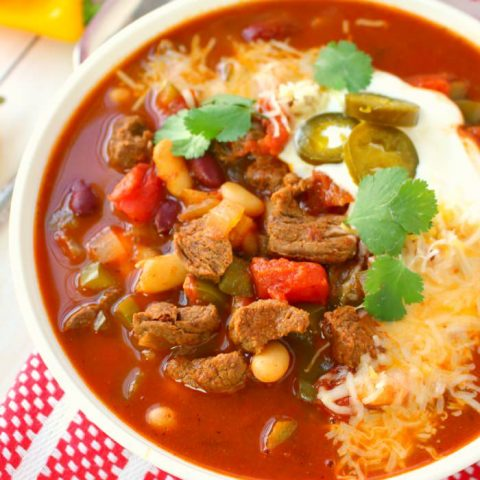 Let me introduce you to your new favorite chili recipe! This Hearty Chipotle Steak Chili is an amazing dinner option that's loaded with tender sirloin steak, beans, peppers and tomatoes. Perfect if you love a hot, delicious bowl of soup on a cold day!