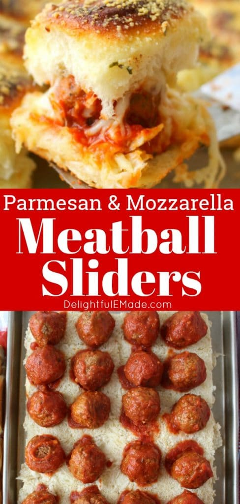 Like a mini version of a meatball sub, these amazing Parmesan Mozzarella Meatball Sliders are the perfect party food! Super-simple to make, this meatball slider recipe is great for serving at your next watch party or pot-luck.