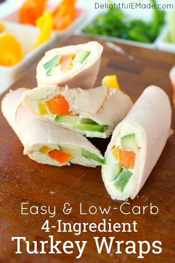 These easy 4-ingredient turkey wraps are the ultimate healthy snack or light lunch when you're looking to make healthier choices!  With no tortilla, these are a great turkey wrap recipe. Just 1 Weight Watchers Freestyle Point!!