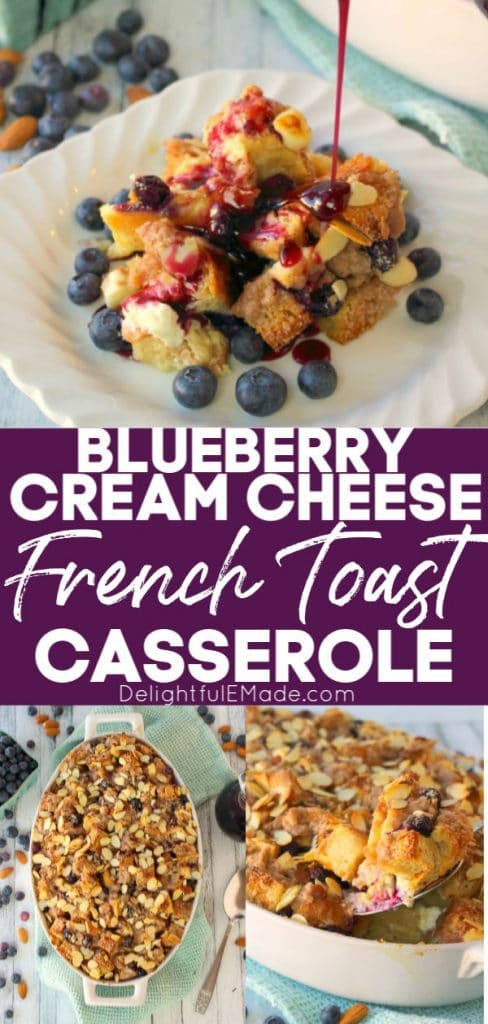 Blueberry French Toast casserole in oval baking dish and serving on plate, topped with fresh blueberries and syrup being poured over top.