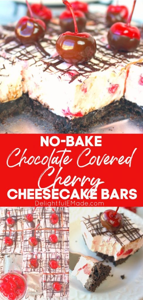 Chocolate covered cherry no bake cheesecake bars, cherry cheesecake bars in pan and sliced into squares.