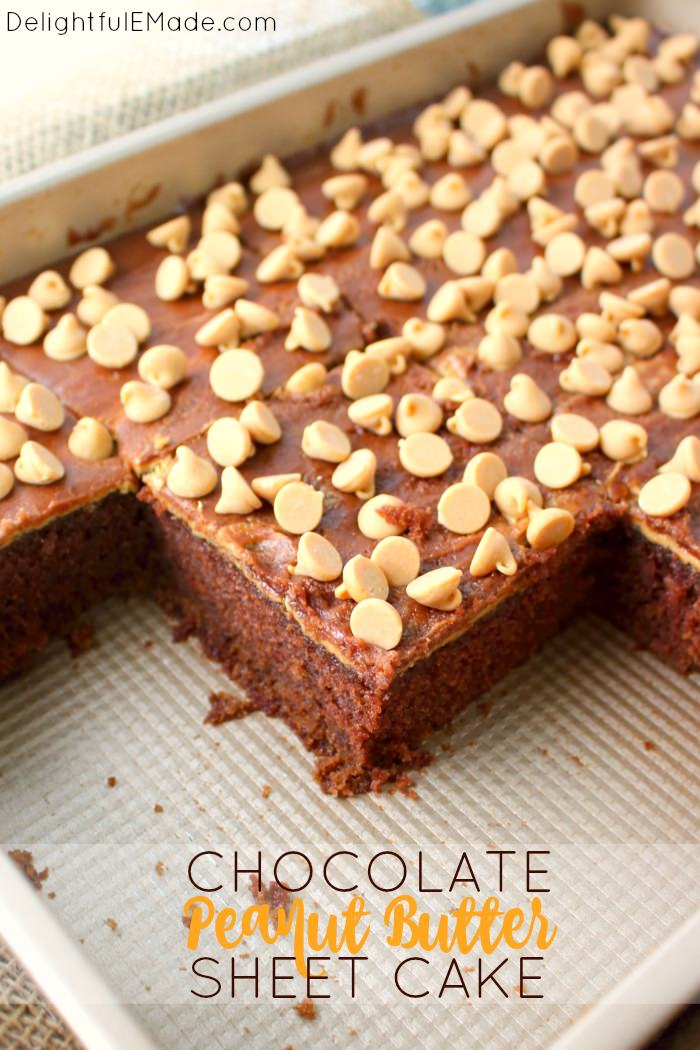 Chocolate sheet cake doesn't get much better than this!  Moist, delicious chocolate cake is topped with a layers of creamy peanut butter, chocolate icing and then loads of peanut butter chips.  This cake recipe is perfect for anyone that loves an amazing chocolate and peanut butter dessert!