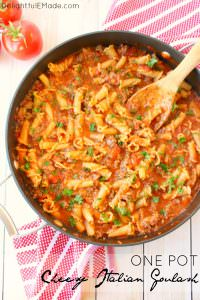 In need of an easy weeknight dinner idea? This One Pot Cheesy Italian Goulash is the perfect dinner solution! Made with simple ingredients that you likely already have in your pantry, this one skillet pasta with meat sauce is fantastic for feeding your family any night of the week!
