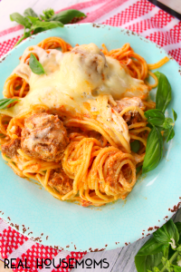 Slow Cooker Cheesy Spaghetti and Meatballs at Real Housemoms