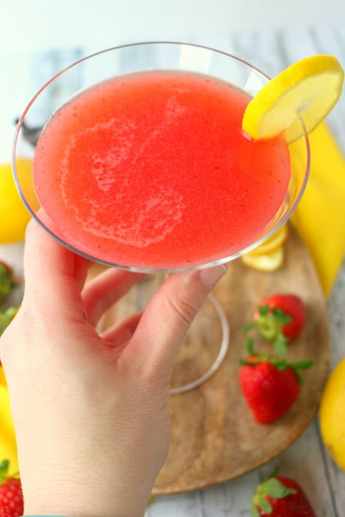If you love the classic Lemon Drop Cocktail, then you'll love this strawberry version! Made with fresh strawberry puree, lemoncello liqueur, and a couple other ingredients, this fresh, delicious lemon drop drink comes together in just minutes. Cheers, everyone!
