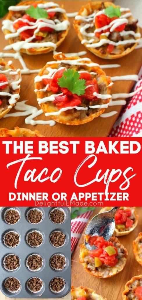 Taco cups on a board and in muffin tin, mini tacos recipe.