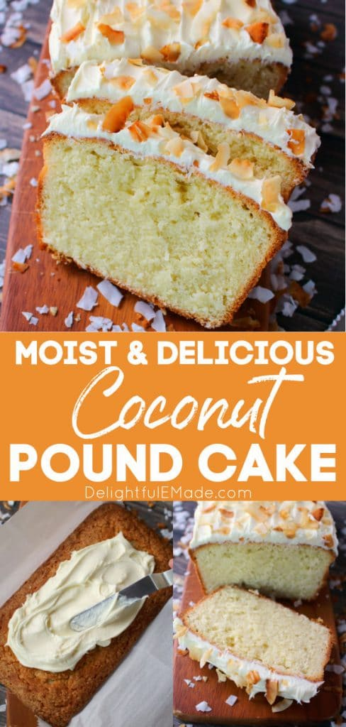 Sliced coconut pound cake on cutting board, frosted coconut cream pound cake loaf.
