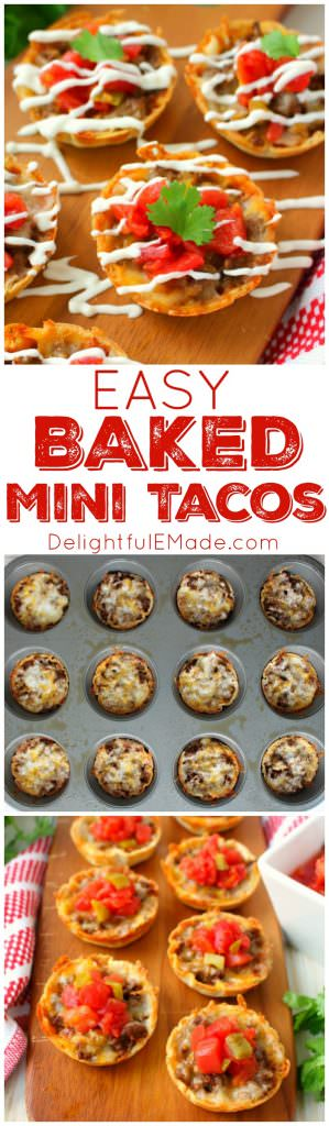 These Easy Baked Mini Tacos will be your new favorite appetizer! Loaded with all your Tex-Mex favorites and topped with Ro*Tel, these mini tacos will be perfect for enjoying with friends at your next watch party!