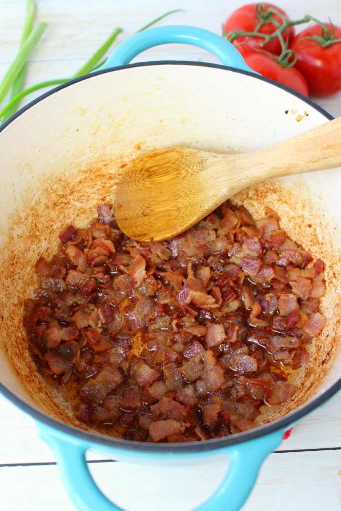 The classic baked beans recipe got an awesome upgrade! These Bacon Lovers Baked Beans and loaded with 1 pound of crisp, delicious bacon along with three types of beans, peppers onions and an amazing sauce. Made in the oven or slow cooker, this easy side dish is a must-have for any cookout, pot-luck, tailgate party or picnic!