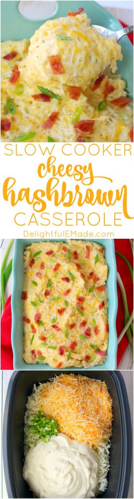 Looking for an easy, cheesy potato side dish? This Cheesy Hashbrown Casserole recipe is made in the crock pot or slow cooker, making it the perfect make-ahead side dish!  Creamy, cheesy and completely delicious, these potatoes are perfect for holiday meals, cookouts and pot-luck dinners!