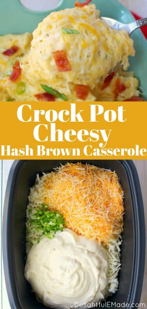 Looking for an easy, cheesy potato side dish? This Cheesy Hash Brown Casserole recipe is made in the crock pot or oven, making it the perfect make-ahead side dish!  These cheesy hash brown potatoes are perfect for holiday meals, cookouts and pot-luck dinners!