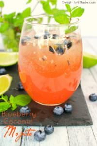 Blueberry Coconut Mojitos by Delightful E Made