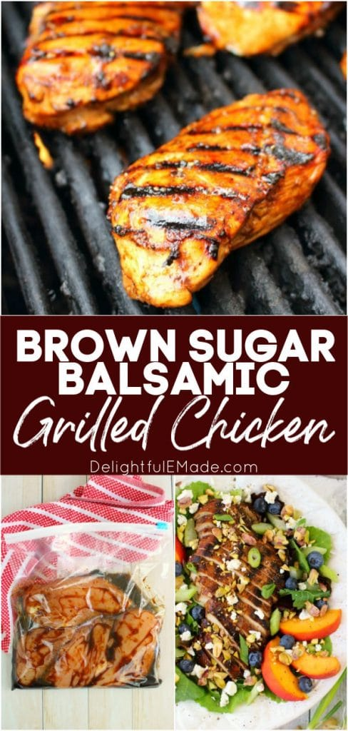 This super simple balsamic grilled chicken will be your new favorite dinner idea!  Made with a 5-ingredient balsamic chicken marinade, this balsamic chicken recipe is done and on the table in under 20 minutes!