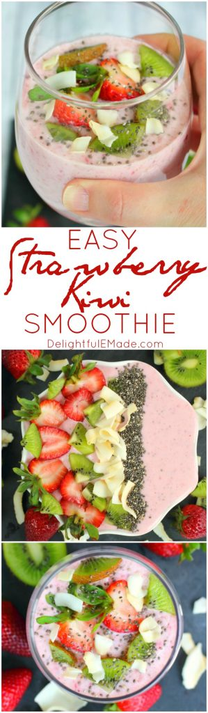 Meet your new favorite strawberry smoothie recipe! With just five simple ingredients, and just minutes to blend, this smoothie is perfect for a quick, healthy breakfast or snack.  Loaded with nutrients, and light on calories, it makes for a fantastic post-workout recovery drink, too!