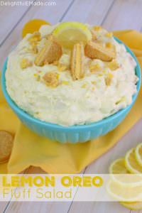If you're Lemon Oreo lover, this this creamy fluff salad is for you! Like the classic oreo fluff recipe, this version is made with lemon oreos and lemon pudding. No potluck, picnic or cookout, is complete without a sweet, creamy fluff recipe like this!