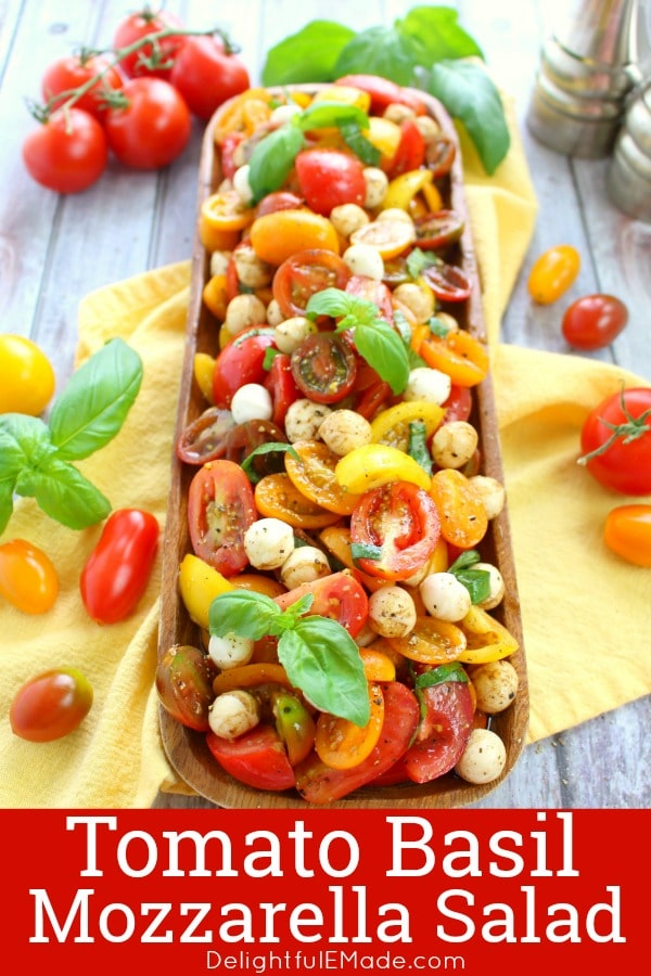 With just 6 ingredients, this simple Tomato Basil Mozzarella Salad will be your new go-to summer side!  Made with fresh cherry tomatoes, mozzarella, basil and a 3-ingredient balsamic vinaigrette, this Italian Tomato Salad recipe tastes incredible!