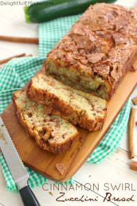 Loaded with garden fresh zucchini, and a cinnamon sugar swirl, this incredible zucchini bread will have you coming back for seconds!  Perfect for an afternoon snack and great with your morning coffee, this simple zucchini bread recipe is amazing!