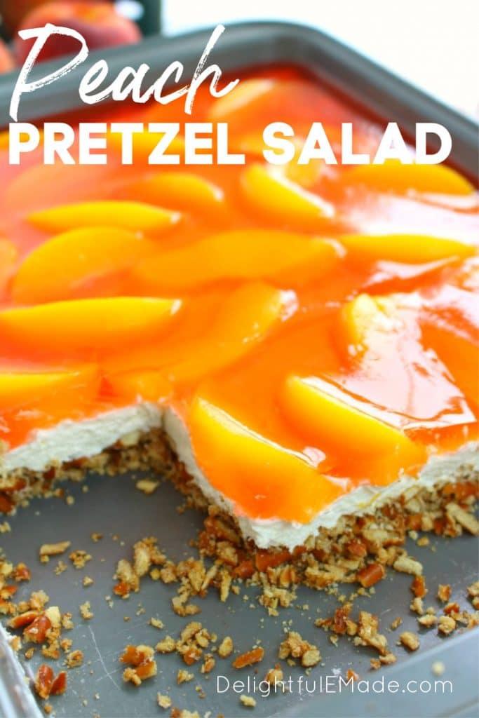 Peach Preztel Salad in 9x13' pan, sliced with peach jello on top.