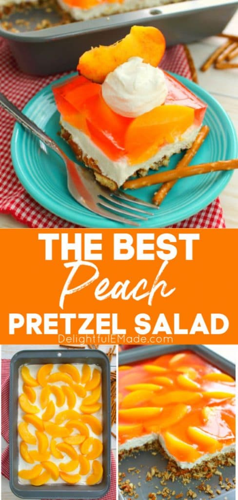 Pretzel salad sliced on plate with pretzel stick garnish. Topped with whipped cream and a sliced peach.