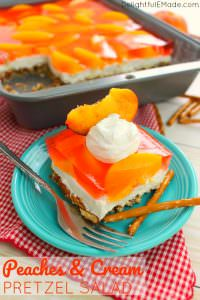 If you love the classic strawberry version, then this peach pretzel salad recipe is right up your alley! Made with a salty-sweet pretzel crust, a delicious cream cheese filling, and an amazing layer of peaches this jello pretzel salad is perfect for your next potluck, cookout or picnic.