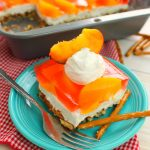 Peaches and Cream Pretzel Salad