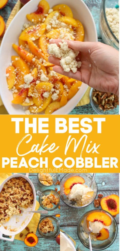Cake mix peach cobbler, yellow sliced peaches in a baking dish topped with cake mix crumble and chopped pecans.