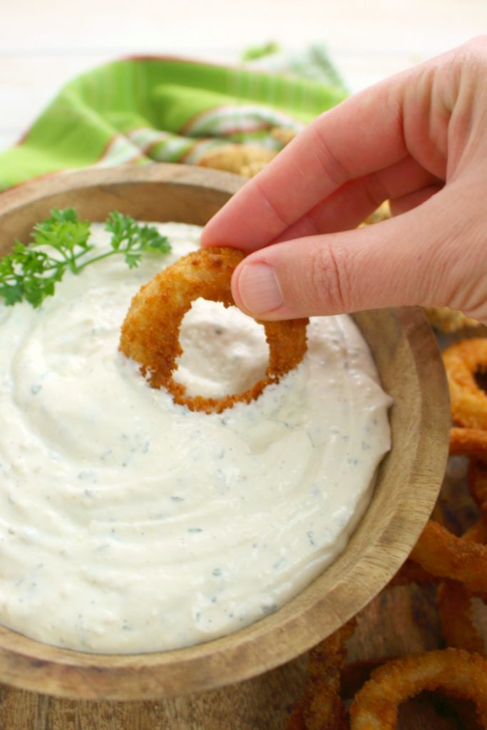 The great flavors of Parmesan cheese and ranch dressing come together for one amazing dip and spread! Perfect for fries, onion rings, chicken tenders, sandwiches, veggies and more, this Ranch Dipping Sauce will be your new favorite condiment to put on everything!