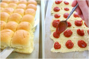 Loaded with layers of pepperoni and mozzarella cheese, these Pepperoni Pizza Sliders are the perfect party food!  Fantastic for watch parties, tailgating, holiday parties and more, these hot mini sandwiches are easy to make and taste incredible!