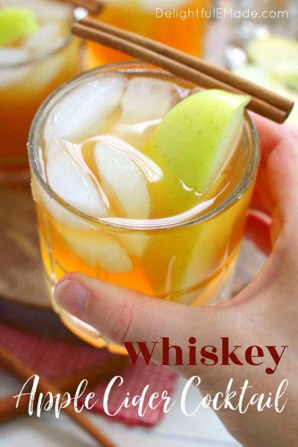 If you love hard cider, or imbibing in the occasional bourbon, this Whiskey Apple Cider Cocktail will be your new favorite drink!