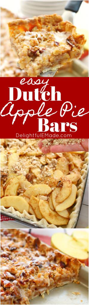 If you really love apple pie, especially with a fantastic cinnamon sugar crumble on top, then these Dutch Apple Pie Bars are for you! Made with some shortcuts, these apple pie bars are an easy option for a delicious apple dessert, a holiday dinner or even a pot-luck!