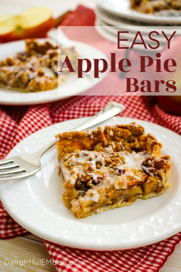 If you really love apple pie bars with streusel topping, then these Dutch Apple Pie Bars are for you! Made with some shortcuts, these apple bars with streusel topping are an easy option for a delicious apple dessert, a holiday dinner or a pot-luck!
