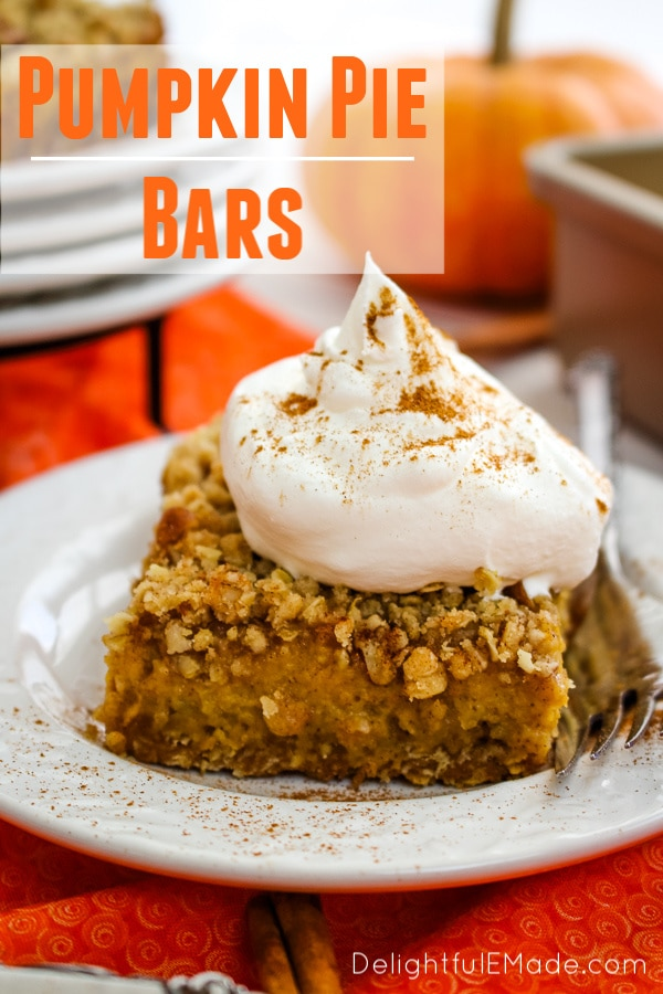 Even easier than pie, these Pumpkin Pie Bars with Pecan Crumble are the perfect fall dessert! Made with a simple oatmeal brown sugar crust, and topped with an amazing pecan crumble, these Pumpkin Crumble Bars will be even more popular than the classic pie!