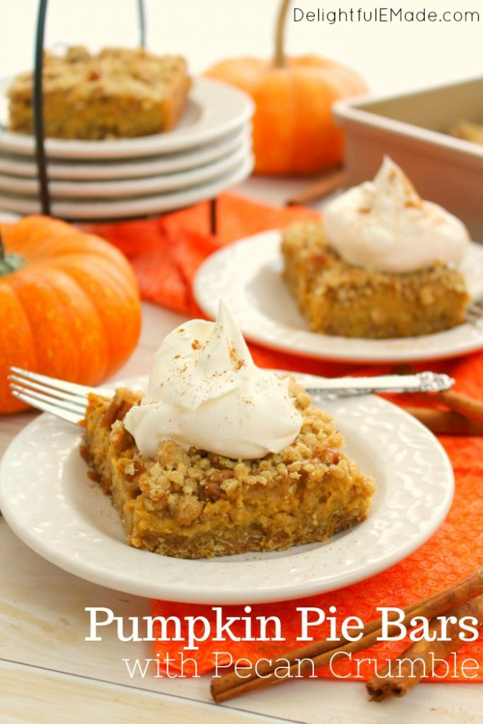 Pumpkin Pie Bars with Pecan Crumble - Delightful E Made