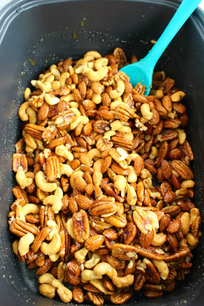 These Slow Cooker Honey Roasted Mixed Nuts are the perfect snack for your next wine night! Fabulous with your favorite ALDI wine, and super simple to make.