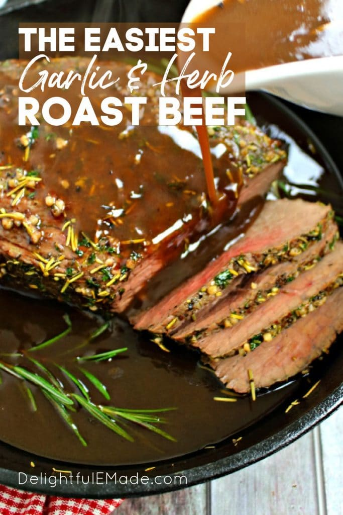 Garlic roast beef topped with gravy