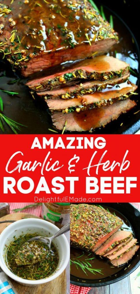 Garlic and herb roast beef recipe, garlic roast beef in a cast iron skillet
