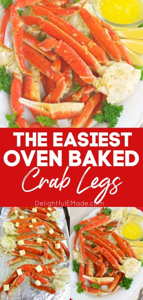 Easy oven baked crab legs on platter and on baking sheet.