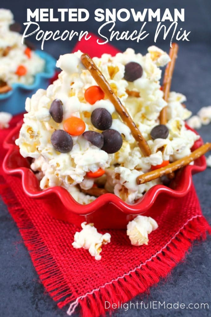 Melted snowman popcorn snack mix in bowl.