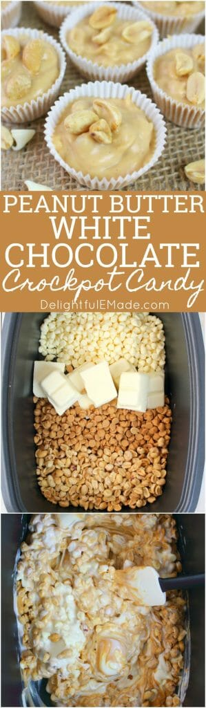 Meet your new favorite Christmas candy recipe! This super simple Peanut Butter White Chocolate Crock Pot Candy is just 4 ingredients, easily made in your Crock Pot,  and the perfect treat to bring to your next Christmas cookie exchange!