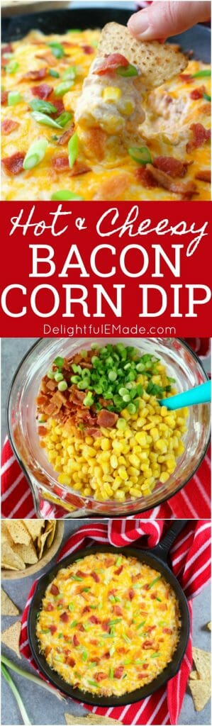 Loaded with crisp, savory bacon, sweet corn and lots of cheese, this hot & creamy Bacon Corn Dip recipe is sure to please! Serve fresh out of the oven oven with your favorite tortilla chips for a fantastic game-day snack or party appetizer.