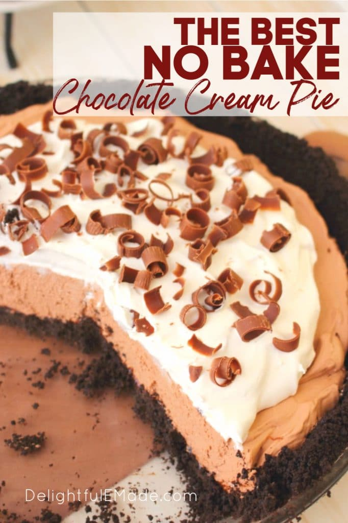 No Bake Chocolate cream pie, sliced pie. Topped with whipped cream and chocolate curls.