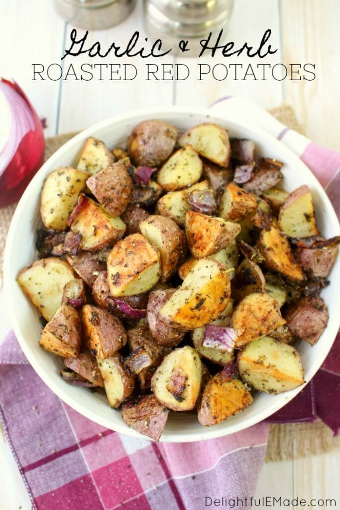 The perfect side dish for just about any meal! These Garlic & Herb Roasted Red Potatoes come together quickly and easily with simple herbs and seasoning that you likely already have in your pantry. Roasted in the oven for the perfect crispy perfection.