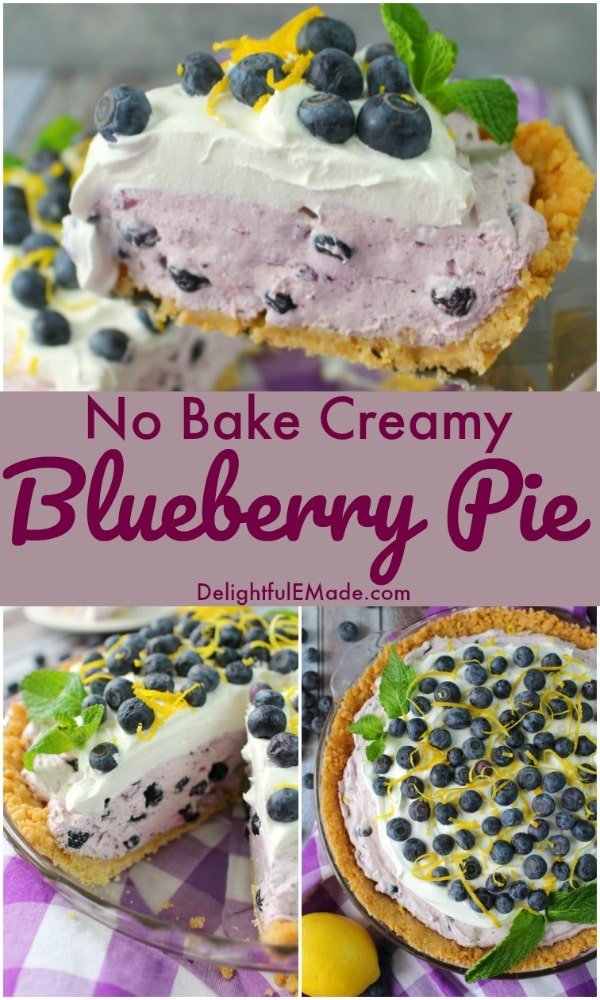 Even easier than pie, this No Bake Blueberry Pie is the perfect spring and summer dessert! Made with an incredible creamy blueberry filling, this no bake blueberry dessert is perfect for just about any occasion!
