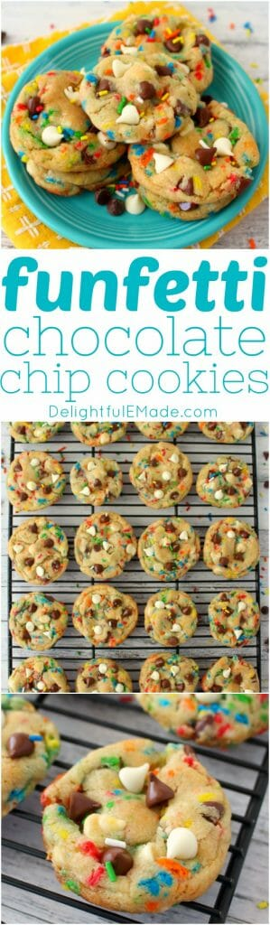 The ultimate chocolate chip cookie recipe! These Funfetti Chocolate Chip Cookies are loaded with sprinkles, white and semi-sweet chocolate chips, and packed with some serious flavor. Perfectly chewy, these cookies will be your new go to cookie recipe!