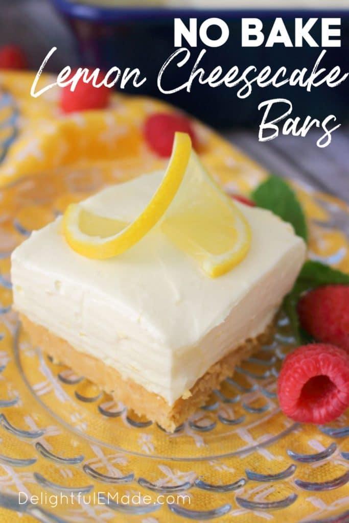 No bake lemon cheesecake bar on a plate with lemon and raspberry garnish.