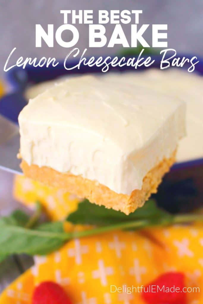 Close up photo of no bake lemon cheesecake bar on spatula.