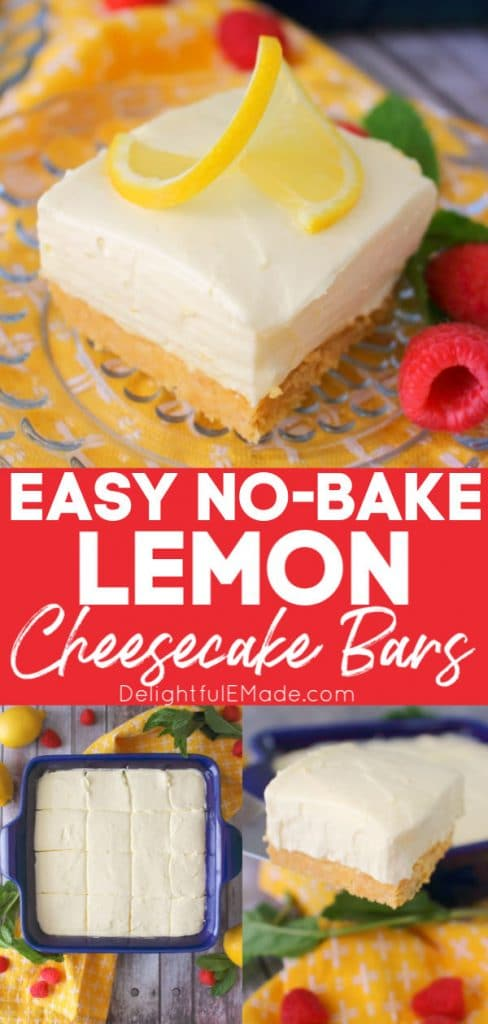 Square of no bake lemon cheesecake bar with pan of cheesecake squares.