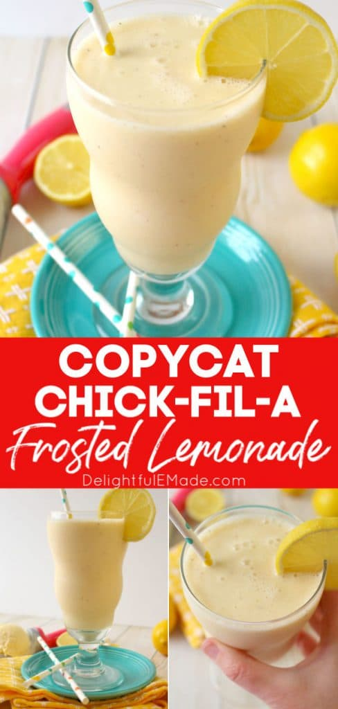 Copycat Chick Fil A Frosted Lemonade milkshake in tall glass with lemon garnish.