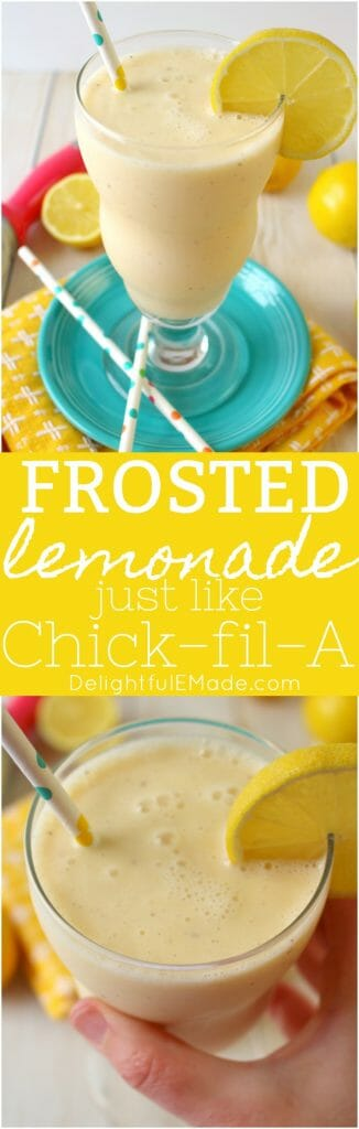 If you like Chick-fil-A's frosted lemonade, then you're gonna love this copycat recipe! Made with just a few simple ingredients, this cold, creamy Frosted Lemonade recipe is perfect on a hot day!